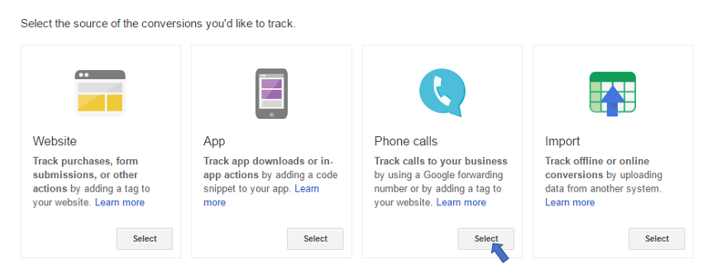 Selecting conversion tracking for calls