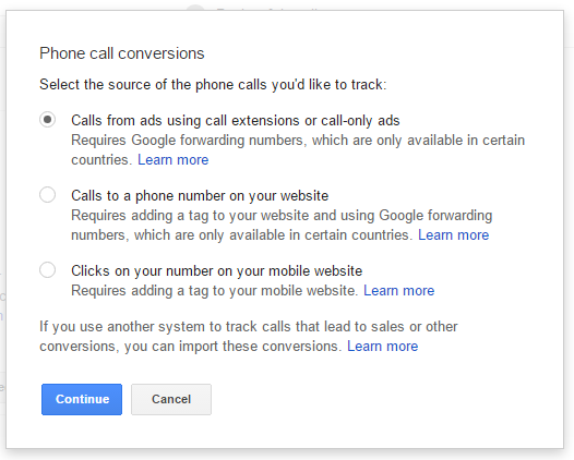 AdWords for call conversion tracking