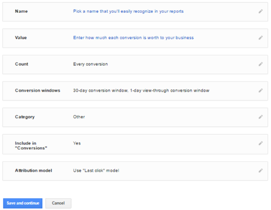 Website conversion tracking setup form
