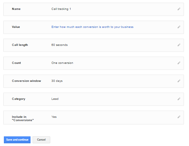 Call conversion tracking form