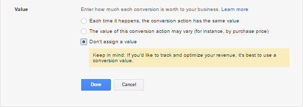 Set value for AdWords website conversion tracking