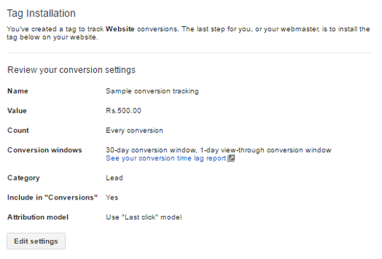 Setting for AdWords conversion tag