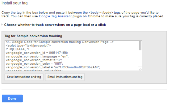 Tag Code for AdWords Website conversion tracking