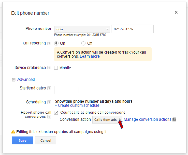 AdWords call conversion tracking for call Extension