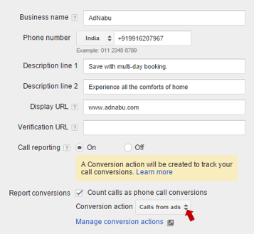 Setting call conversion for call only campaign
