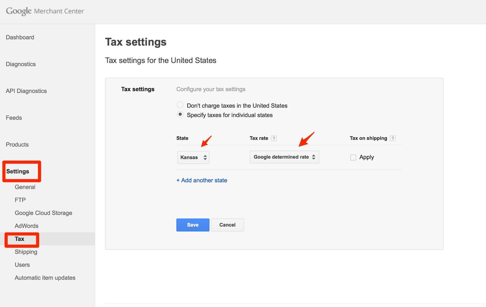 Google Merchant Center settings-tax