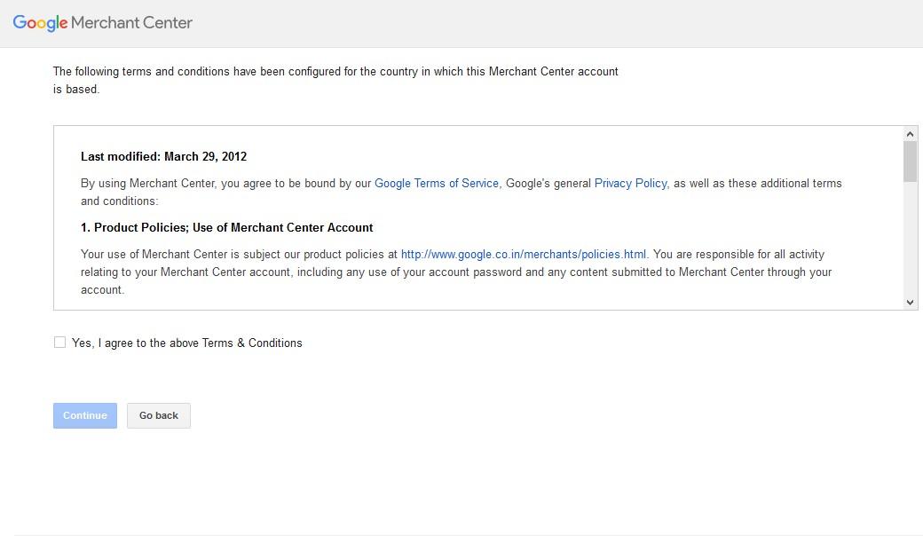 Google Merchant Center set up 02
